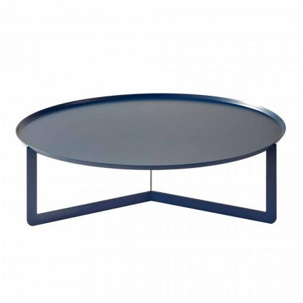 Niski okrągły stół na zewnątrz z kolorowego metalu Made in Italy - Stephane