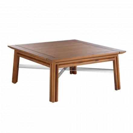 Niski kwadratowy stolik kawowy na zewnątrz z naturalnego drewna lub czarnego wzoru - Suzana