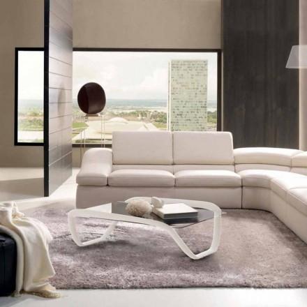 Stolik kawowy design z szkła i Solid Surface® Continuum