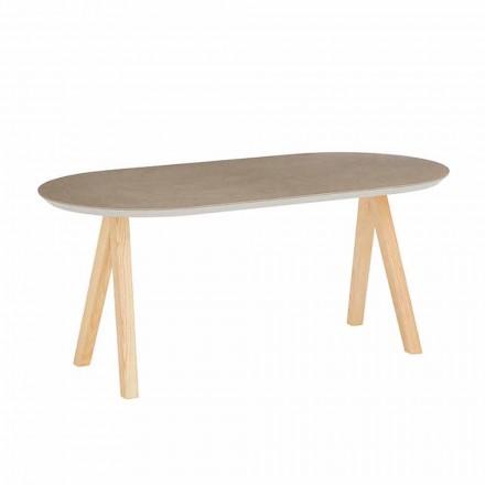 Stolik kawowy z ceramiki i naturalnego drewna, nowoczesny owalny design - Amerigo