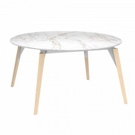 Okrągły stolik kawowy z efektem marmuru, 3 kolory, 2 rozmiary - Faz Wood firmy Vondom