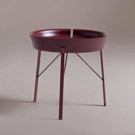 Stolik kawowy do salonu ze stali i kolorowego drewna w nowoczesnym stylu - kokon
