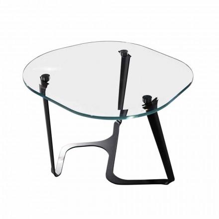 Ręcznie robiony stolik kawowy ze szkła i stali Made in Italy - Marbello