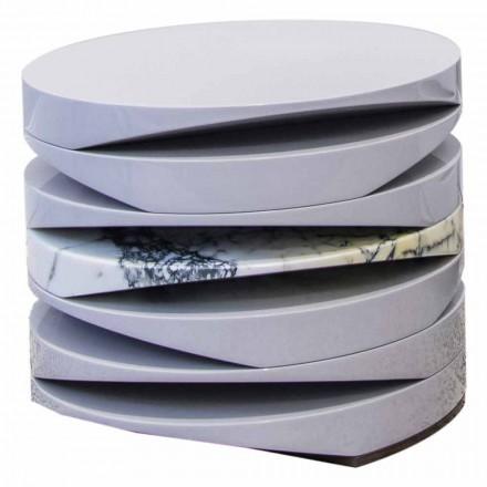 Stolik kawowy z białego marmuru z wkładką Paonazzo Made in Italy - Life