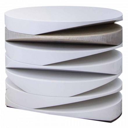 Stolik kawowy z białego marmuru z trawertynową wkładką Made in Italy - Life