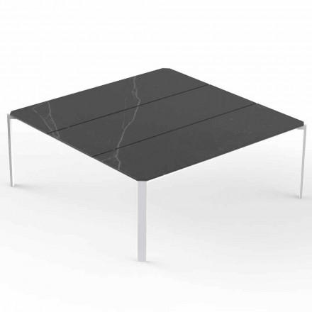 Kwadratowy stolik ogrodowy, blat z efektem marmuru - tablet firmy Vondom