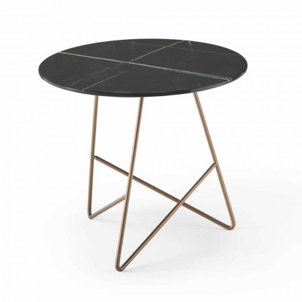 Okrągły stolik kawowy z metalu i luksusowego szkła z efektem marmuru - Magali