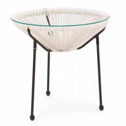 Zewnętrzny stalowy stół ze szklanym blatem - Spumolizia