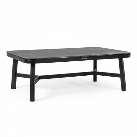 Stół zewnętrzny z czarnego aluminium z Homemotion - szklany blat Morena