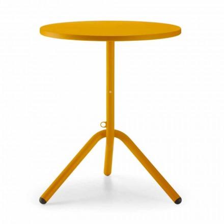 Okrągły zewnętrzny stół z blachy i blachy wyprodukowany we Włoszech - Alberic