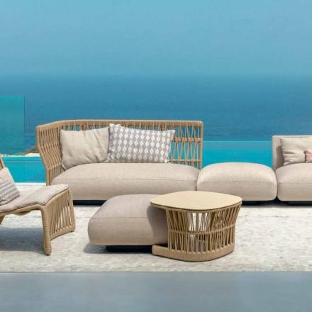 Stół ogrodowy Cliff firmy Talenti, zaprojektowany przez Palombę w sznurku i aluminium