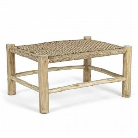 Stolik ogrodowy z gałązek tekowych z blatem z tkaniny - Tecno