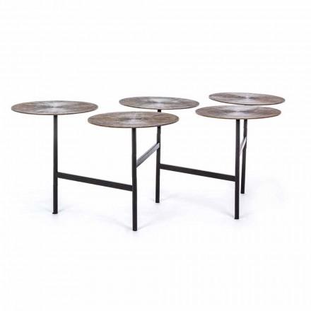 Stolik kawowy Homemotion z 5 okrągłymi aluminiowymi blatami - Pollino