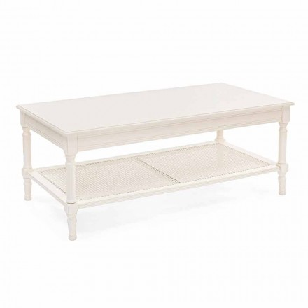 Klasyczny stolik kawowy z drewna i rattanu Homemotion - Raino