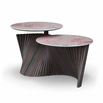 Luksusowy stolik kawowy z 2 okrągłymi blatami z Gresu Made in Italy - Sztokholm