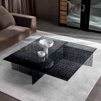 Design Stolik kawowy Ekskluzywne szkło zdobione Made in Italy - Sestola