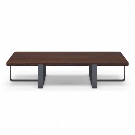 Luksusowy stolik kawowy z kolorowym blatem z metalu i drewna - Anacleto
