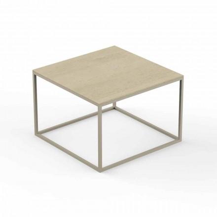 Designowy stolik ogrodowy, kwadratowy blat z efektem marmuru - Suave firmy Vondom