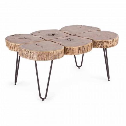 Stolik kawowy z drewna akacjowego i stali malowanej Homemotion - Havana