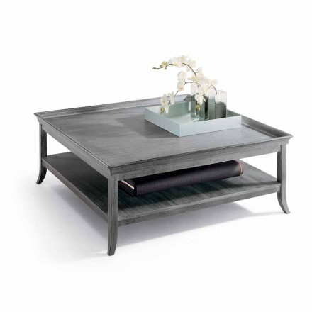 Stolik kawowy do salonu 130x130cm z drewna kolor srebrny