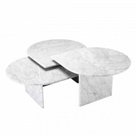 Stolik kawowy z białego marmuru z Carrary, 3 sztuki - Marsala