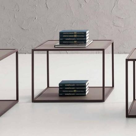Metalowy stolik kawowy z kryształowym blatem Made in Italy - Fermio
