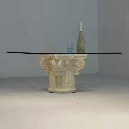 Stolik z kamienia Vicenza i kryształu Balos, wyrzeźbiony ręcznie
