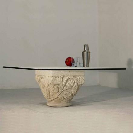 Stolik z kamienia Vicenza i kryształu model Mytros