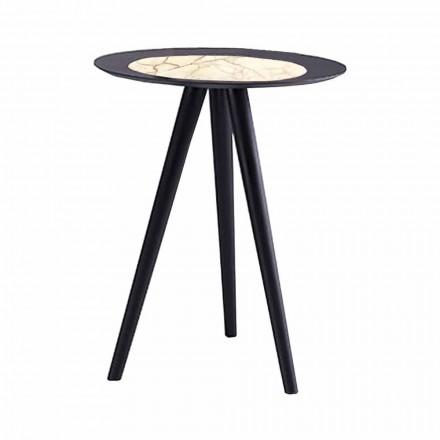 Nowoczesny stolik kawowy z okrągłym blatem z gresu Made in Italy - Stuttgart