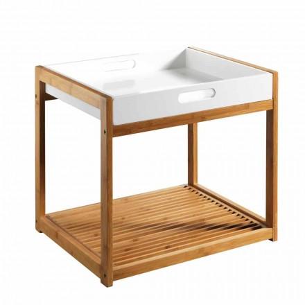 Nowoczesny stolik kawowy z drewna bambusowego z białą tacą z płyty MDF - Volly