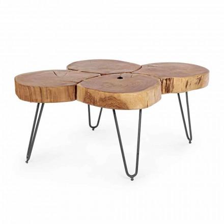 Nowoczesny stolik kawowy Homemotion z drewna i malowanej stali - Severo