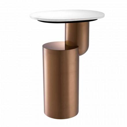 Nowoczesny stolik kawowy z białego marmuru z miedzianą podstawą - Cosenza