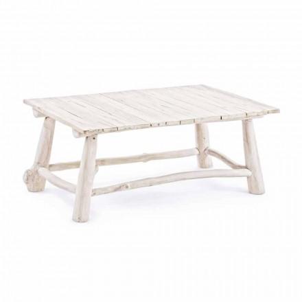 Homemotion Nowoczesny stolik kawowy z bielonego drewna tekowego - bambus