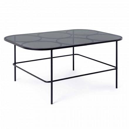 Nowoczesny stolik kawowy Homemotion ze szkła i malowanej stali - Rondino