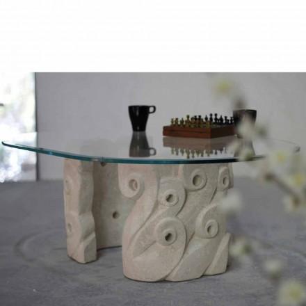 Stolik owalny z kamienia Vicenza i kryształu model Lindos