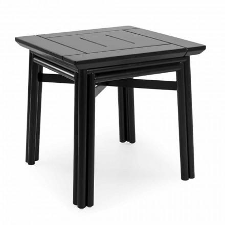 Stolik kawowy na zewnątrz z naturalnego lub czarnego drewna, 2 rozmiary - Suzana