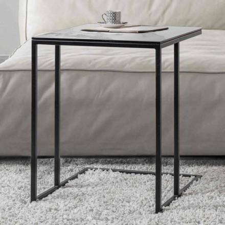 Kwadratowy stolik kawowy ze szkła ceramicznego z metalową podstawą - Anselmo
