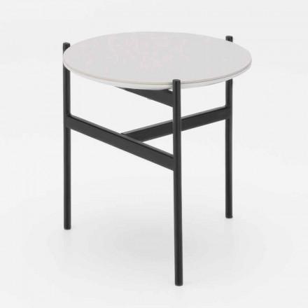 Okrągły stolik ceramiczno-metalowy o nowoczesnym designie - Gaduci