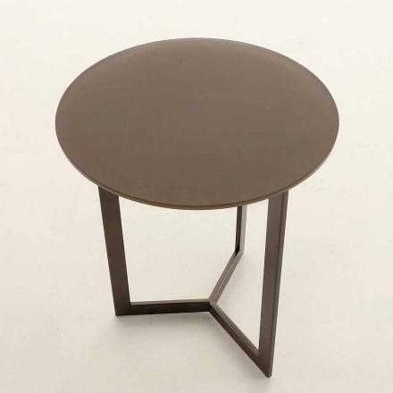 Okrągły stolik kawowy z kryształowym blatem Made in Italy - Indio