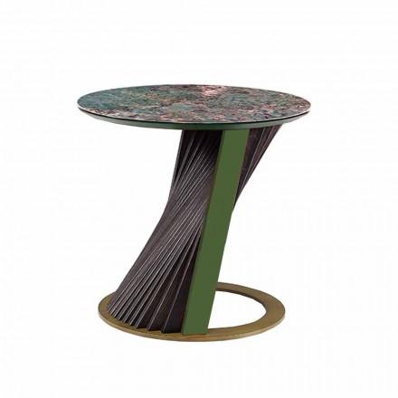 Luksusowy okrągły stolik kawowy z gresu i jesionu Made in Italy - Bering