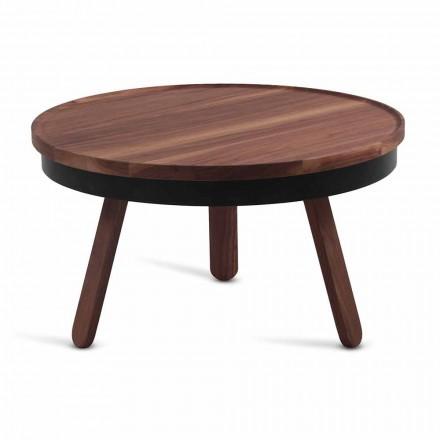 Okrągły stolik kawowy z litego drewna i metalu - Salerno