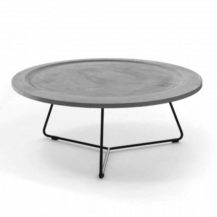 Okrągły stolik kawowy z betonu i czarnego metalu Made in Italy - Evolve