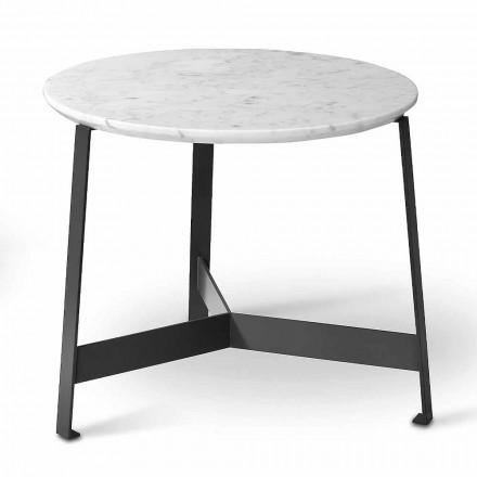 Okrągły marmurowy stolik kawowy z metalową podstawą Made in Italy - Juliana