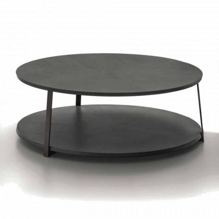 Okrągły stolik kawowy z Mdf z metalową konstrukcją Made in Italy - Aloe