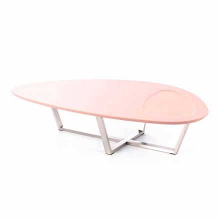 Stół do salonu w nowoczesnym kształcie z MDF i chromowanego metalu - Pimpa