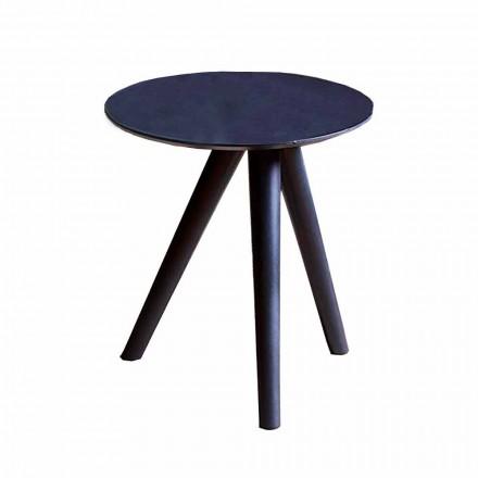 Okrągły stolik kawowy z czarnego szarego lakierowanego drewna Made in Italy - Stuttgart