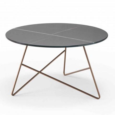 Okrągły metalowy stolik kawowy z blatem ze szkła z efektem marmuru - Magali