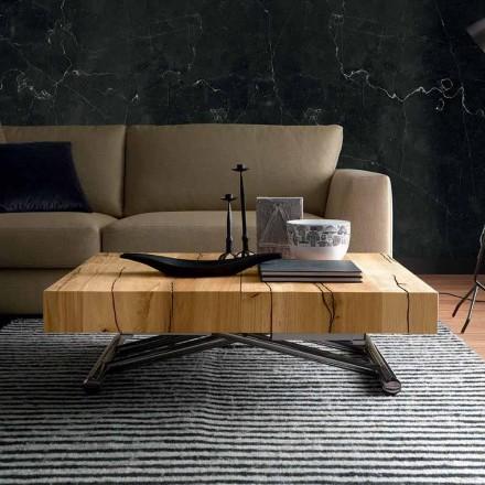 Stolik kawowy Transforming z litego drewna Made in Italy - Trabucco