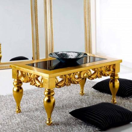 Stolik kawowy klasyczny z drewna model Lof, złote wykończenie