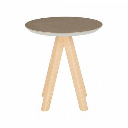 Okrągły stolik kawowy do salonu z drewna jesionowego i ceramicznego blatu - Amerigo